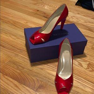 NW Ruby Red Peep Toe Stuart Weitzman Pumps!